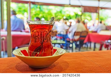 The Glass Of Turkish Tea In Antalya