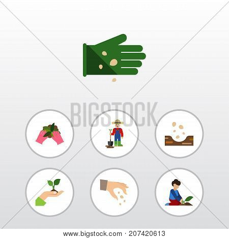 Flat Icon Sow Set Of Plant, Care, Man And Other Vector Objects