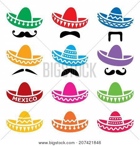 Mexican Sombrero hat with moustache or mustache vector icons set