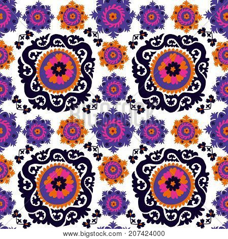 seamless pattern of traditional asian carpet embroidery Suzanne. Uzbek ethnic decorative floral motif for rug, fabric, tablecloth