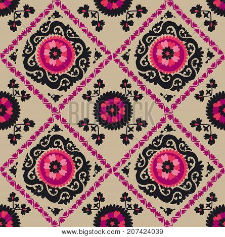 traditional asian carpet embroidery Suzanne in pink and black color. Uzbek ethnic decorative floral motif for rug, fabric, tablecloth