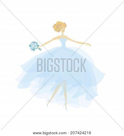 elegant fashion bride in color dress. blue transparent veil vector illustration
