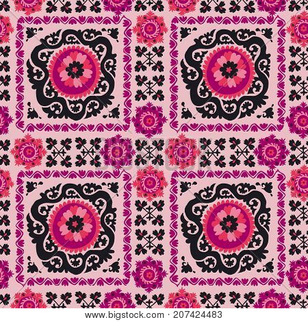 seamless pattern of traditional asian carpet embroidery Suzanne in pink and black color. Uzbek ethnic decorative floral motif for rug, fabric, tablecloth
