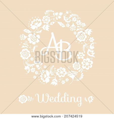 beige pastel tender traditional european ukrainian ornament for wedding invitation. rustic floral composition. rural folk style flower element.
