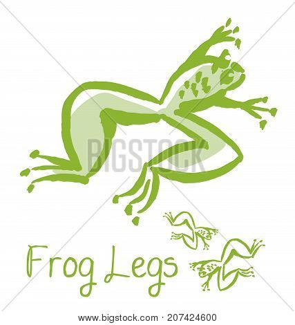 frog lags french meal concept illustration. green animal vector image. gourmet cuisine sketch