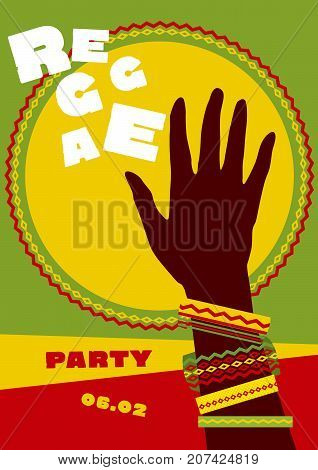 durum sun and tribal human hand with bracelets. reggae folk music background. Jamaica poster vector illustration