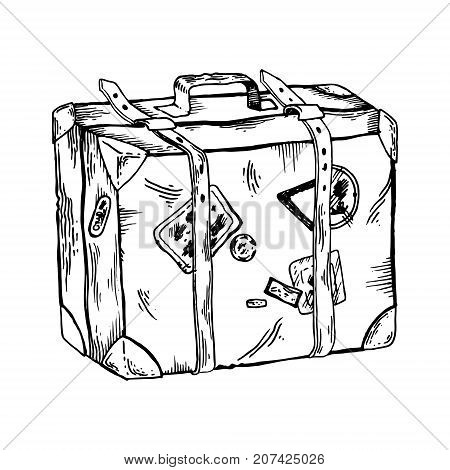 Old travel case engraving vector illustration. Scratch board style imitation. Hand drawn image.