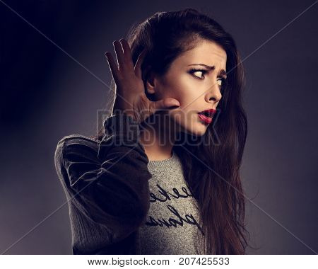 Shocked Surprising Woman Holding The Hand Near The Ear And Listening With Emotional Face The Gossip