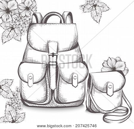 Schoolbag Vector line art. Back to school autumn background