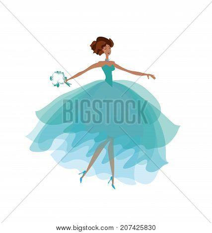 summer stunned bride in elegant fashion blue marine sea color dress. blue transparent veil vector illustration