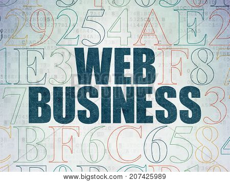 Web development concept: Painted blue text Web Business on Digital Data Paper background with Hexadecimal Code