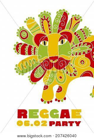 folk style lion  reggae mascot. color music poster on white background. Jamaica poster vector illustration