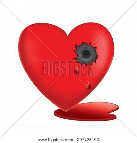 Vector illustration of Glassy Heart Bleeding with bullet hole