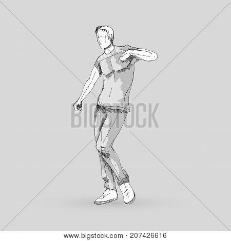 Modern Style Dancer Posing Sketch of a Man Dancer Hip Hop Choreography on a Gray