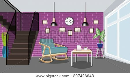 Modern bright living room interior design with large window and big stairs to the second floor. Stylish furniture - rocking chair, table, lamps, pictures and clock. Flat style vector illustration.