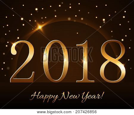 Happy New Year Background Gold 2018