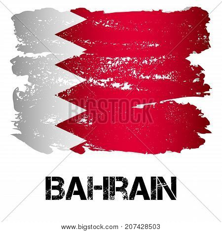 Flag of Kingdom of Bahrain from brush strokes in grunge style isolated on white background. Arab constitutional monarchy and insular state in Persian Gulf in Western Asia. Vector illustration