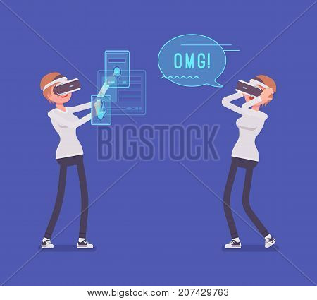 VR woman having positive experience and exciting sense of realism, first wow effect with manipulating virtual objects. Virtual reality and entertainment concept. Vector flat style cartoon illustration