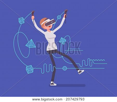 VR woman having drawing positive experience. Testing exciting new technology transforming linework into objects. Virtual reality and entertainment concept. Vector flat style cartoon illustration
