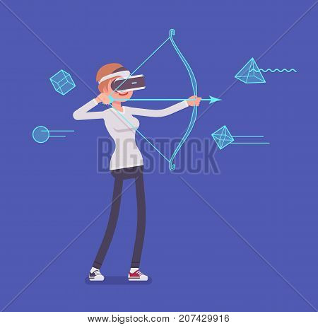 VR woman in archery game. Target shooting simulation, using a bow and arrow to shoot and hit accuracy. Virtual reality and entertainment. Vector flat style cartoon illustration