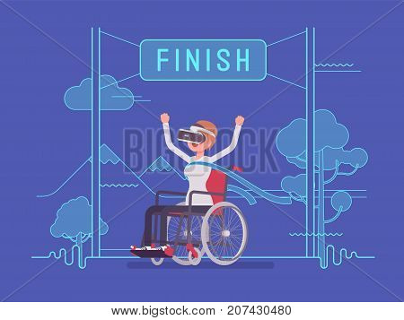 VR woman woman wheelchair user winning. Advanced technology helps to enrich the lives of disabled people. Virtual reality and entertainment concept. Vector flat style cartoon illustration