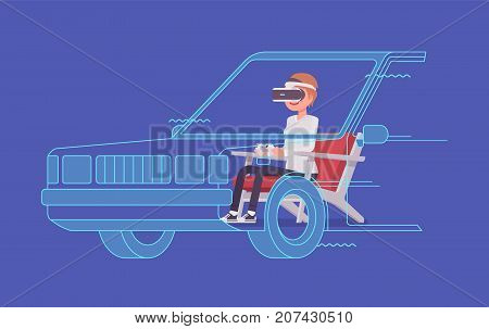 VR woman driving test. Using advanced technology to imitate road with the driver simulator, practice for license. Virtual reality and entertainment concept. Vector flat style cartoon illustration