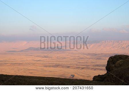 Crater Ramon National park in Negev desert Israel.