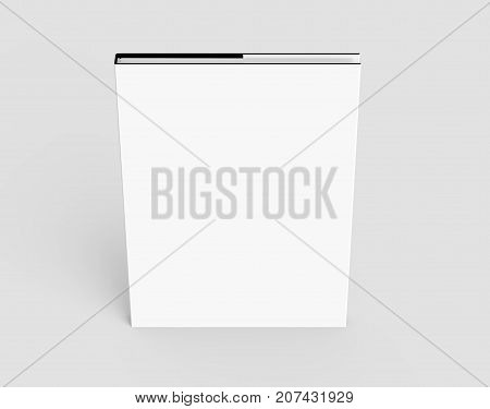 3D rendering hardcover book standing single book mockup isolated on light gray background elevated view