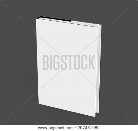 3D rendering hardcover book standing single book mockup isolated on dark background elevated view