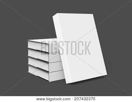 3D rendering hardcover books five books mockup pile up and isolated on dark background