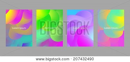 set of abstract covers with fluid colored bubbles