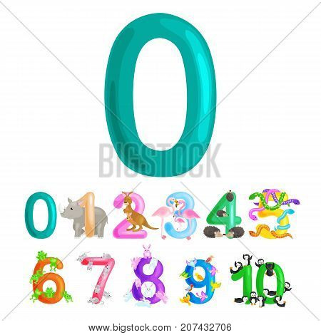 ordinal numbers 0 for teaching children counting zero birdies with the ability to calculate amount animals abc alphabet kindergarten books or elementary school posters collection vector illustration.