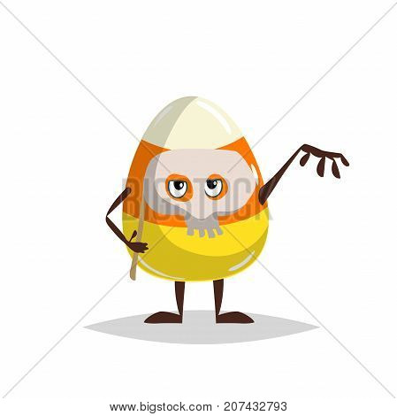Cartoon candy corn character with funny skull mask. Halloween humanized sweet symbol for party poster and decoration.