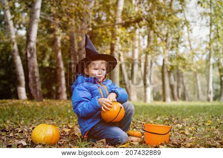 little boy get ready for halloween party in autumn nature