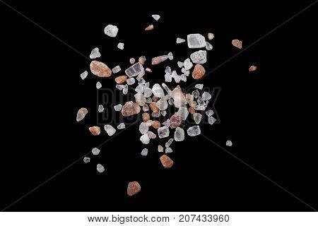 Himalayan Salt Crystals Macro Close-up On Black Background