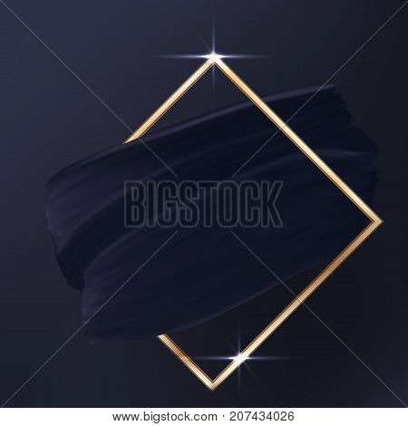 Black on black Luxury elegant vector texture background. Abstract Smear or piece of Cloth with golden shining frame isolated on dark backdrop. Black silk.