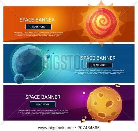 Creative fantsy planets banner set. Trendy vector horizontal banners. Save the planet banner concept.