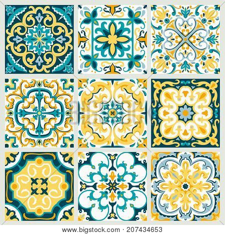 Set With Beautiful Ornamental Tile Background.