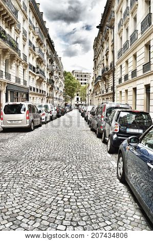 Paris, France - Sepyember 14, 2017: HDR view of the street of Paris.