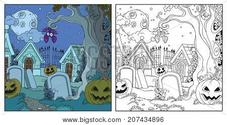 Halloween Background Cemetery And Crypts With Pumpkins Color And Outlined For Coloring Page
