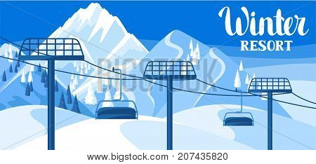 Winter resort illustration. Beautiful landscape with rope way, snowy mountains and fir forest.