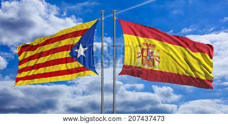 Catalonia And Spain Flags On Blue Sky Background. 3D Illustration