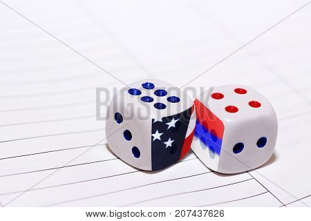 Two White Dices, America And Russia