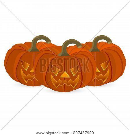 Wicked pumpkin for Halloween. Jack Lantern vector illustration