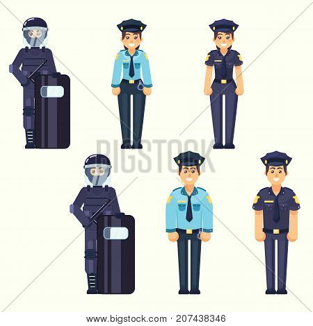 Vector - Policeman policewoman Special Forces soldier Cute happy police man and woman agents working in uniform Vector officer in flat style eps10