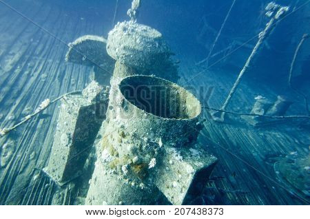 Funnel On A Shipwreck, Underwater Photo, Blue Backgrond