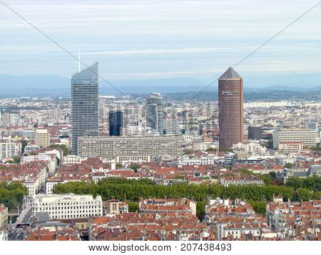 Lyon France, 3 October 2017: Aerial view on La Part-Dieu central business district skyline with Incity and Crayon towers