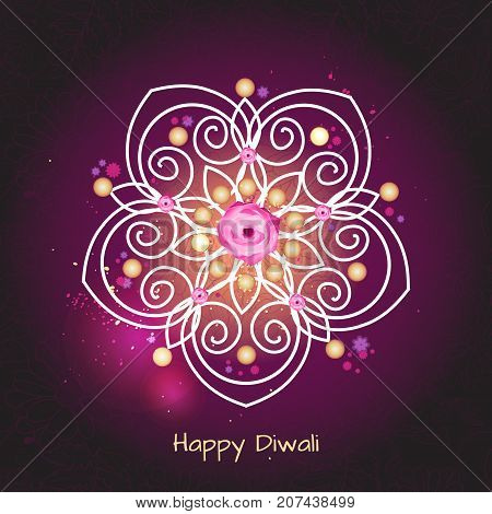 Violet color background design for Diwali festival with rangoli.Vector illustration on the theme of the traditional celebration of happy diwali. Deepavali light and fire festival.