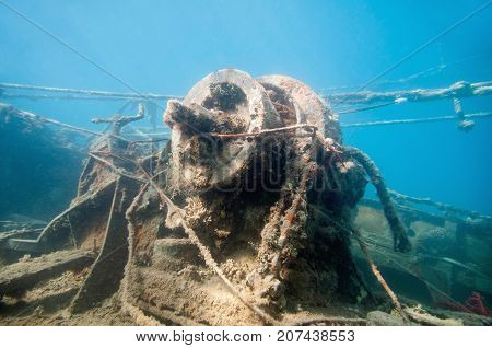 Winch On A Shipwreck, Underwater Photo, Blue Backgrond
