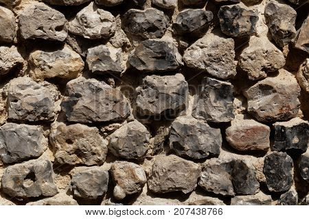 Wall Made Of Flint Stone